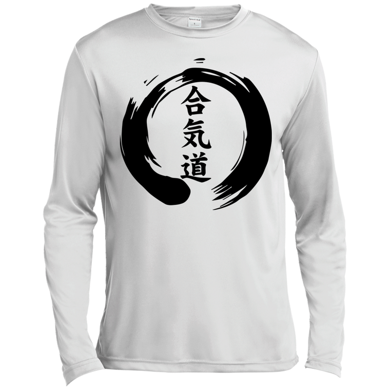 Aikido Kanji Zen Enso Long Sleeve Moisture Wicking - Martial Arts, Brazilian Jiujitsu, Karate, Muay Thai Shirts