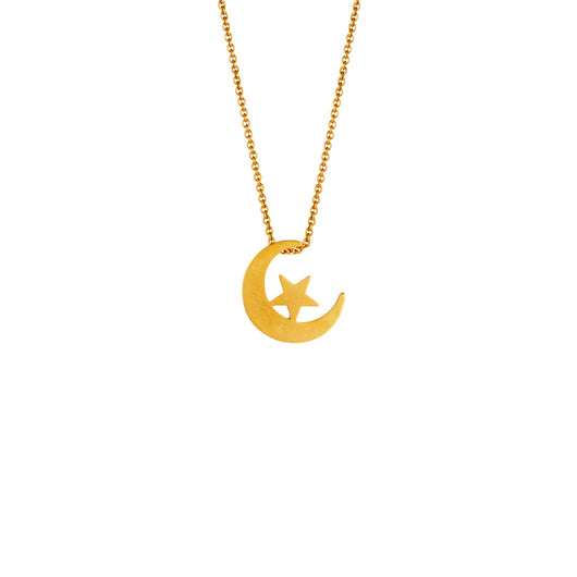 Star + Crescent Pendant Necklace - Brushed