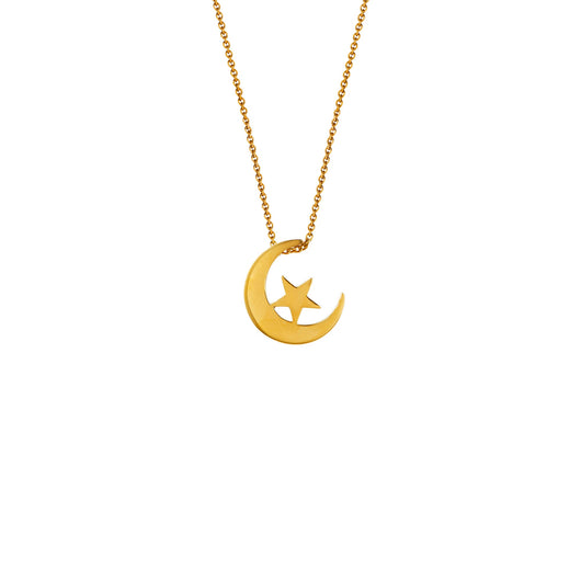 Star + Crescent Pendant Necklace - Polished