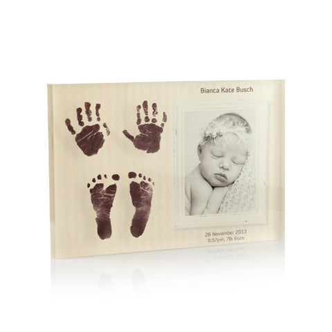 Personalised 2 Hand & 2 Feet Print with Photo Memory Block