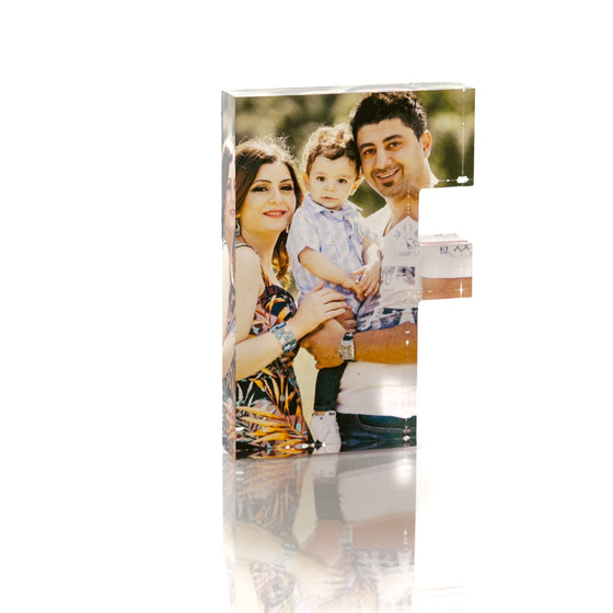 "Personalised Acrylic Letter ""F"" Photo Block"