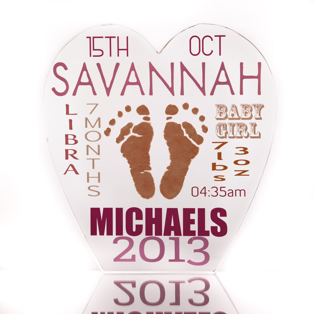 Personalised Baby Hand & Foot Print Love Heart