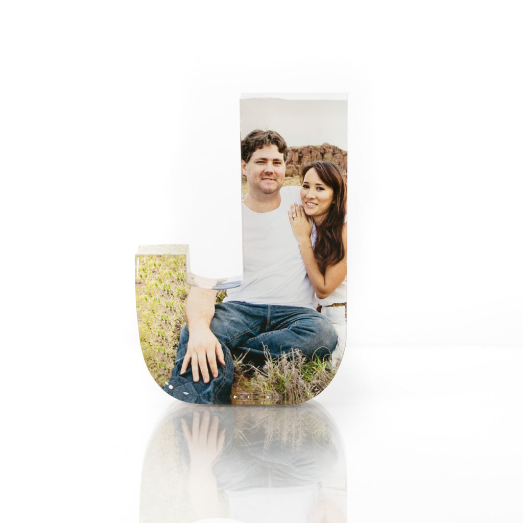 "Personalised Acrylic Letter ""J"" Photo Block"