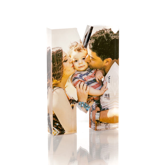 "Personalised Acrylic Letter ""M"" Photo Block"