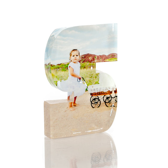 "Personalised Acrylic Letter ""S"" Photo Block"