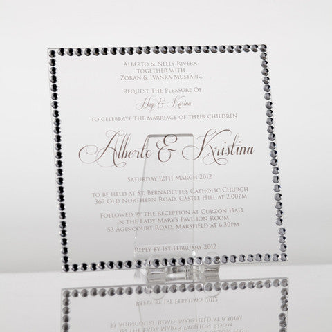 Personalised Acrylic Square Wedding Invitation: Classic Diamondies