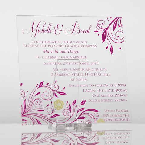 Personalised Acrylic Square Wedding Invitation - Standard