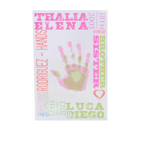 Personalised Siblings Hand Print Block