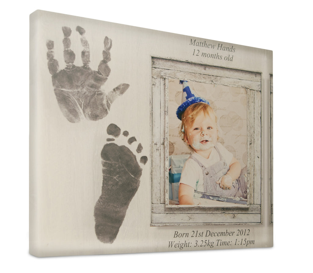 Personalised One Hand & Foot Print Memory Block