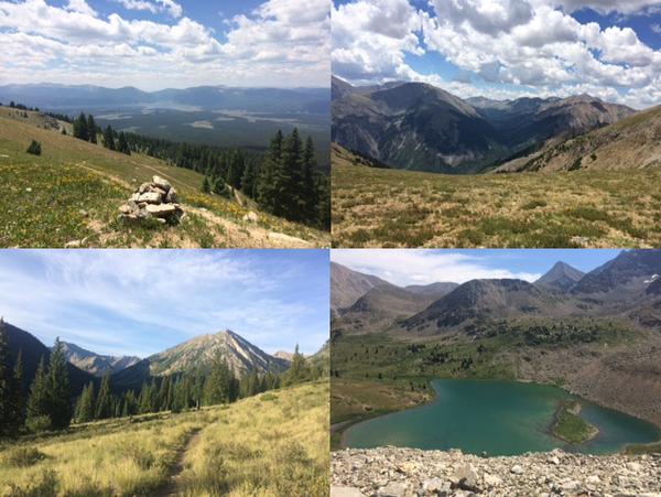four photos of Chips Colorado trip including a cairn, mountains, and a lake