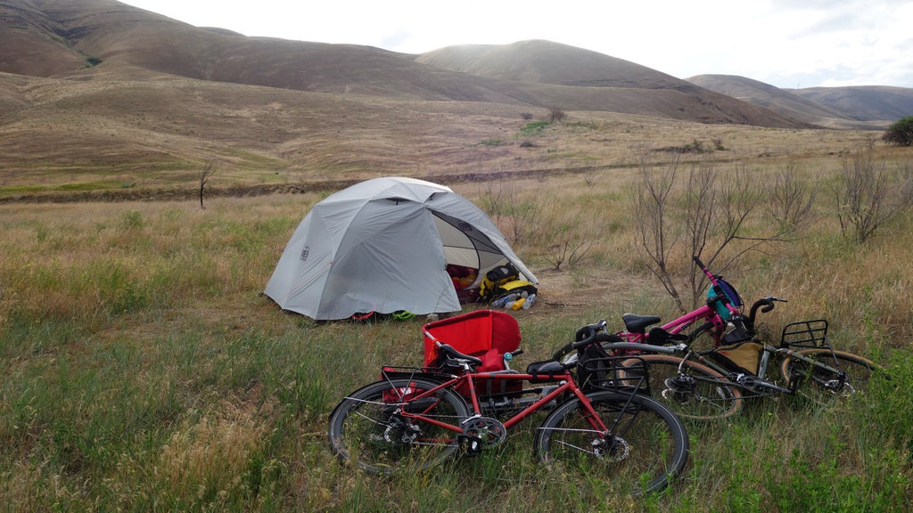 Camping as a family during a bikepacking trip