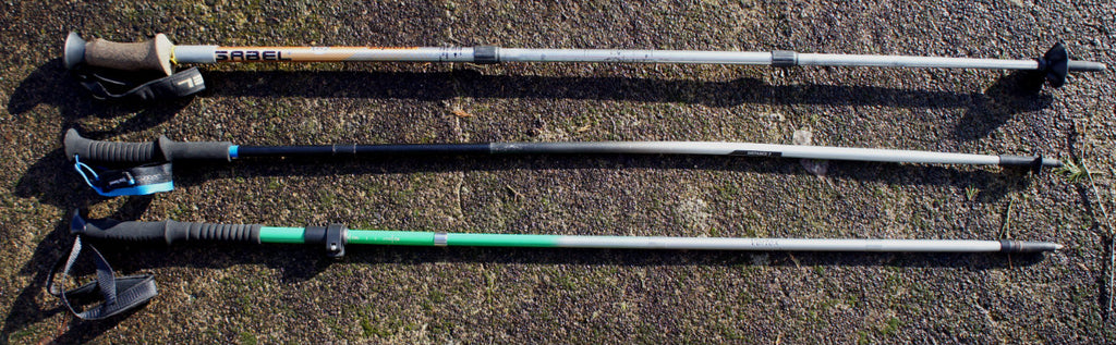 The evelution of trekking poles: 3 sections (top), 4 sections (middle) and 5 sections (bottom)