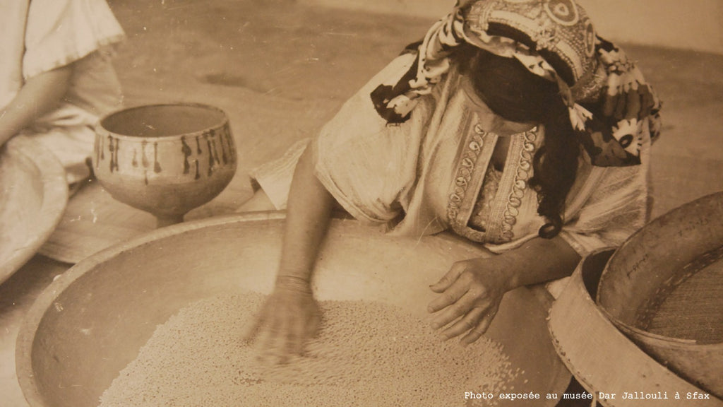 Traditional couscous making