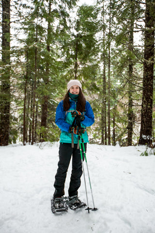 woman with Vertex poles on snowshoes