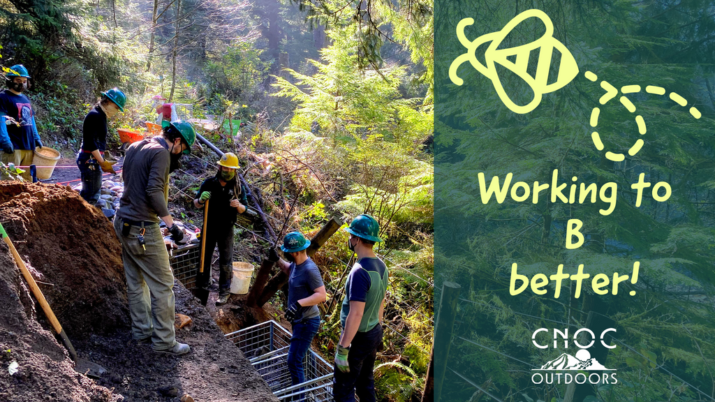 Cnoc Outdoors staff volunteering as trailworkers with a B graphic and words that say 'Working to B Better'