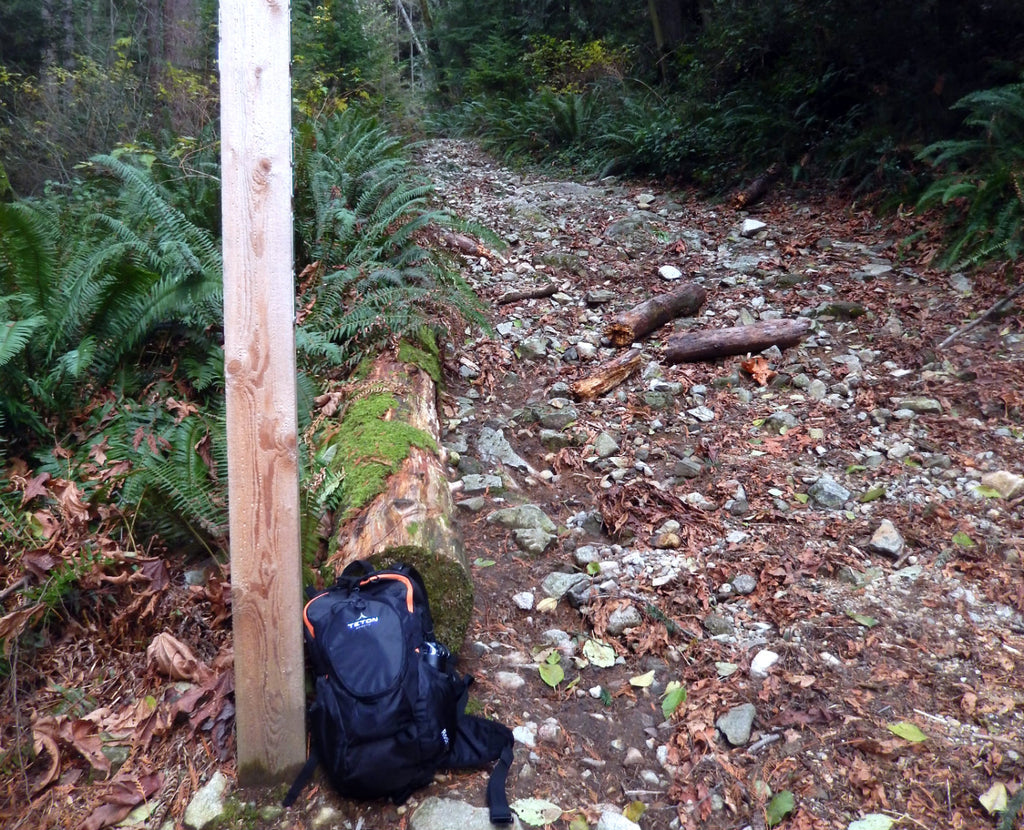 backpack next to wood post
