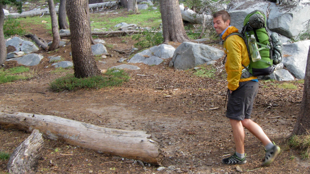Gilad backpacking in Merrell Zerodrop shoes