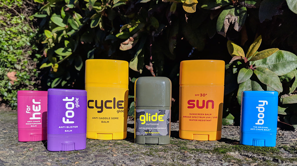 a row of various body glide products