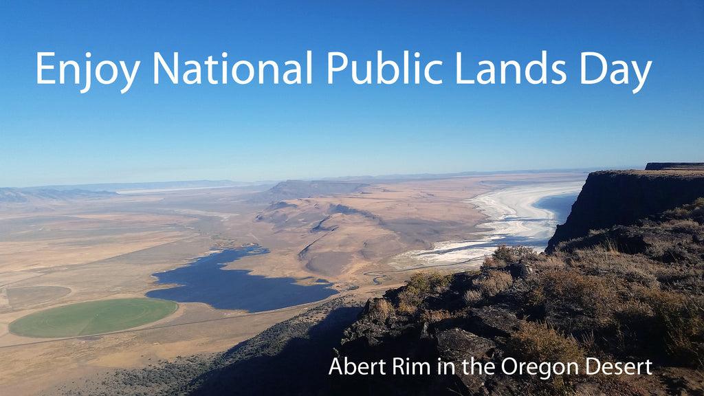 "Picture of Abert Ridge with text ""Enjoy National Public Lands Day"" and ""Abert Ridge in the Oregon Desert"""