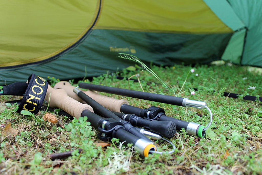 zfold poles with Cnoc logo next to tent
