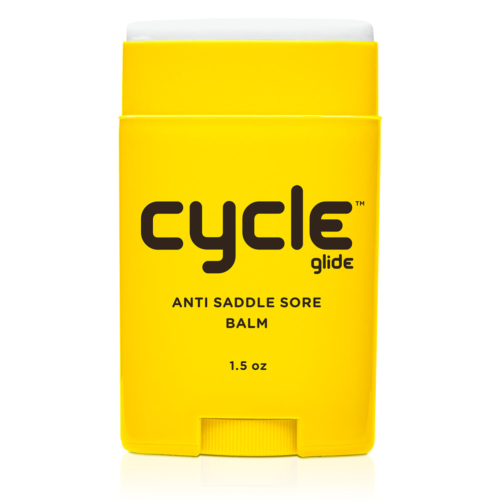 "picture of a 1.5 oz container that says ""cycle glide anti saddle sore balm"""