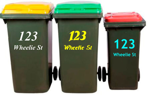 Wheelie Bin Number Sticker, Rubbish Bin Sticker, House Number, Street Name Decal, Garbage Wheelie Bin Sign