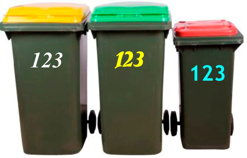 Wheelie Bin Sticker, Rubbish Bin Sticker, House Number, Decal, Garbage, Wheelie Bin Sign