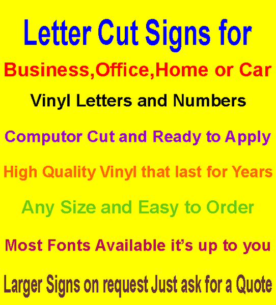 Vinyl Letters and Numbers Sizes 70-90mm
