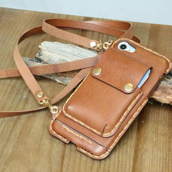 iPhone 7 case leather wallet crossbody iphone 7 plus case handmade iphone 6 case iphone 6 plus case iphone case long strap