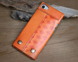 "iPhone 7 Wallet, iPhone 7 Case, iPhone 7 Sleeve, leather, wool felt, ""Rough Edge"""