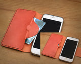 iPhone 7 Plus / 7S Plus Case, Luxury Premium Genuine Real Leather Case Back Cover with [Ultra Slim] for Apple iPhone 6 Plus / 6S Plus (Orange)