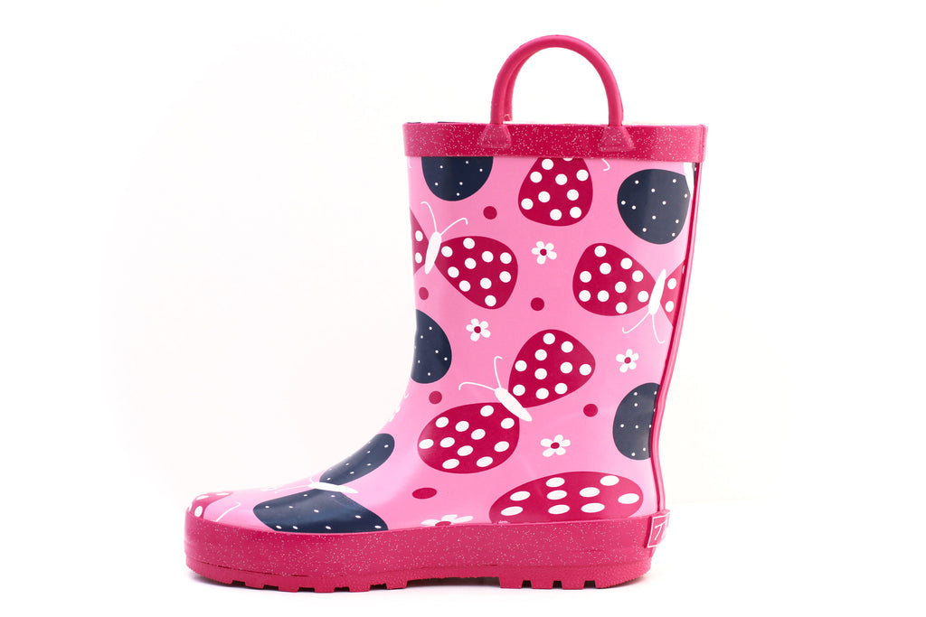 Pink Butterfly Rain Boots