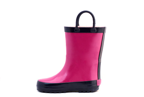 Pink & Navy Rubber Rain Boots