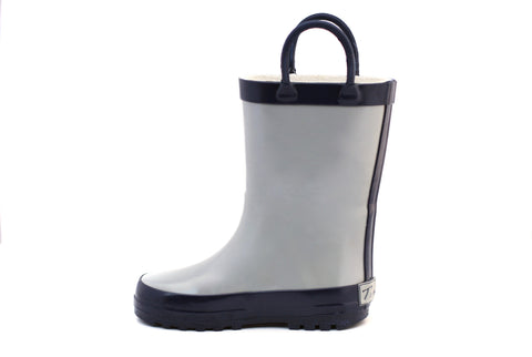 Gray & Navy Rubber Rain Boots