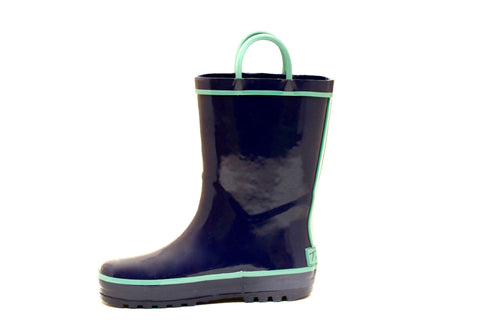 Navy & Green Rubber Rain Boots