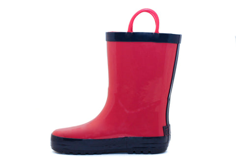 Red & Navy Rubber Rain Boots