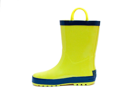 Yellow & Navy Rubber Rain Boots