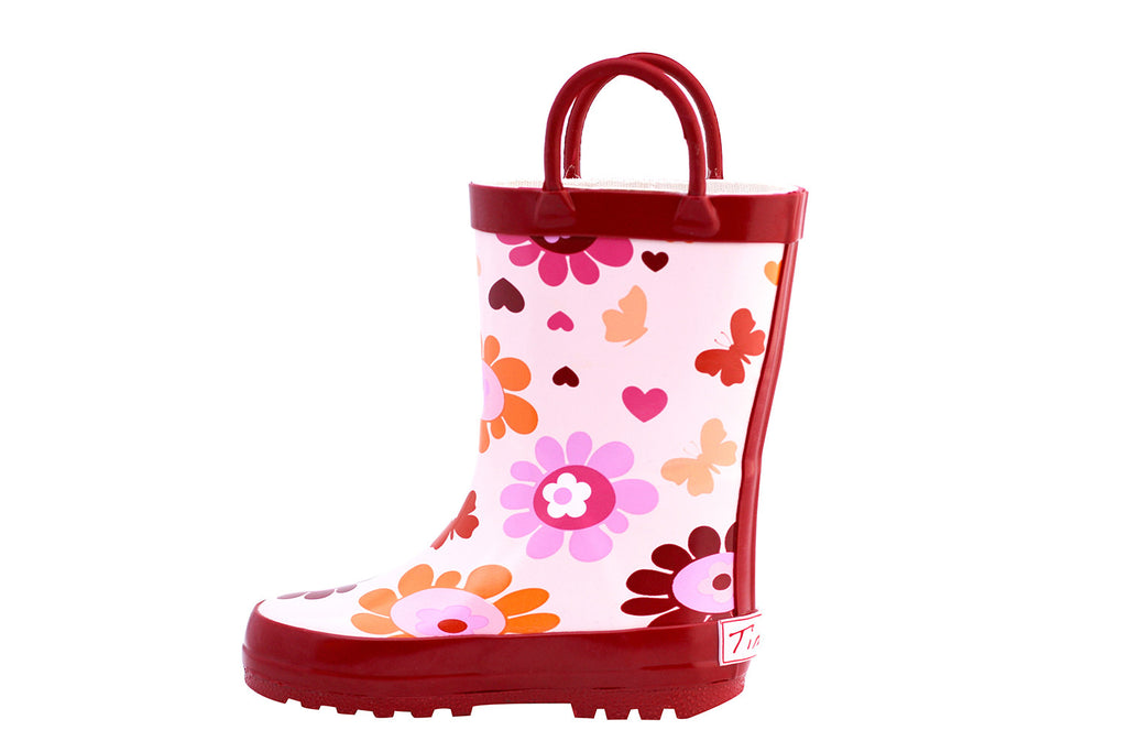 Red Daisy Rubber Rain Boots