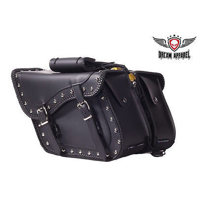 bceb3efd50 MOTORCYCLE 2 PC STUDED BRAIDED PVC SADDLEBAG WITH SIDE METAL SHEET UV  WATERPROOF