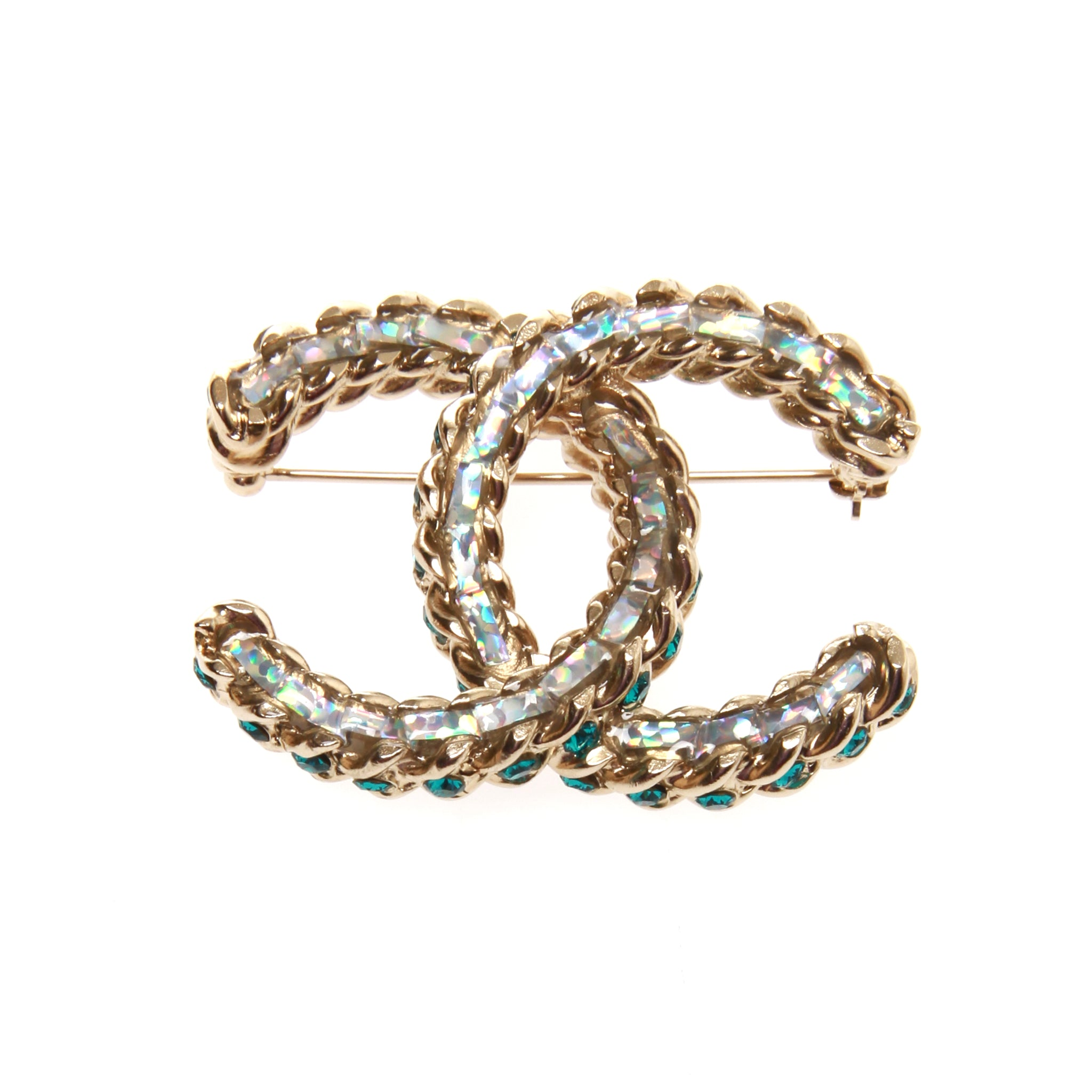 chanel metal en brooch gold vintage luxury channel