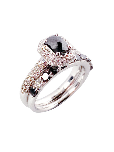 18ct Black Diamond Ring Set