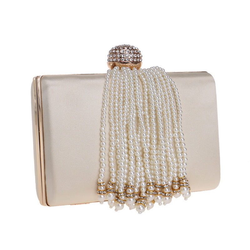 Diamonds and Pearls Satin Clutch Bag - House of Pascal