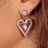 HEART TO HEART Crystal Rhinestone Necklace and Earring Set in Rose Gold