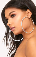 CRYSTAL LUXE SHIMMER RHINESTONE HOOP EARRINGS - House of Pascal