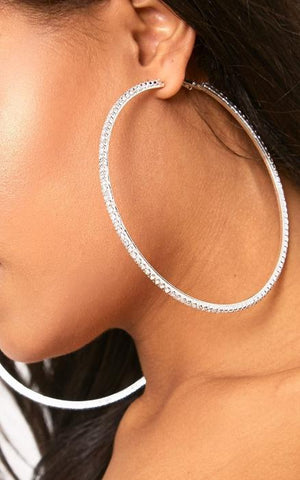CRYSTAL LUXE SHIMMER Oversized Rhinestone Hoop Earrings