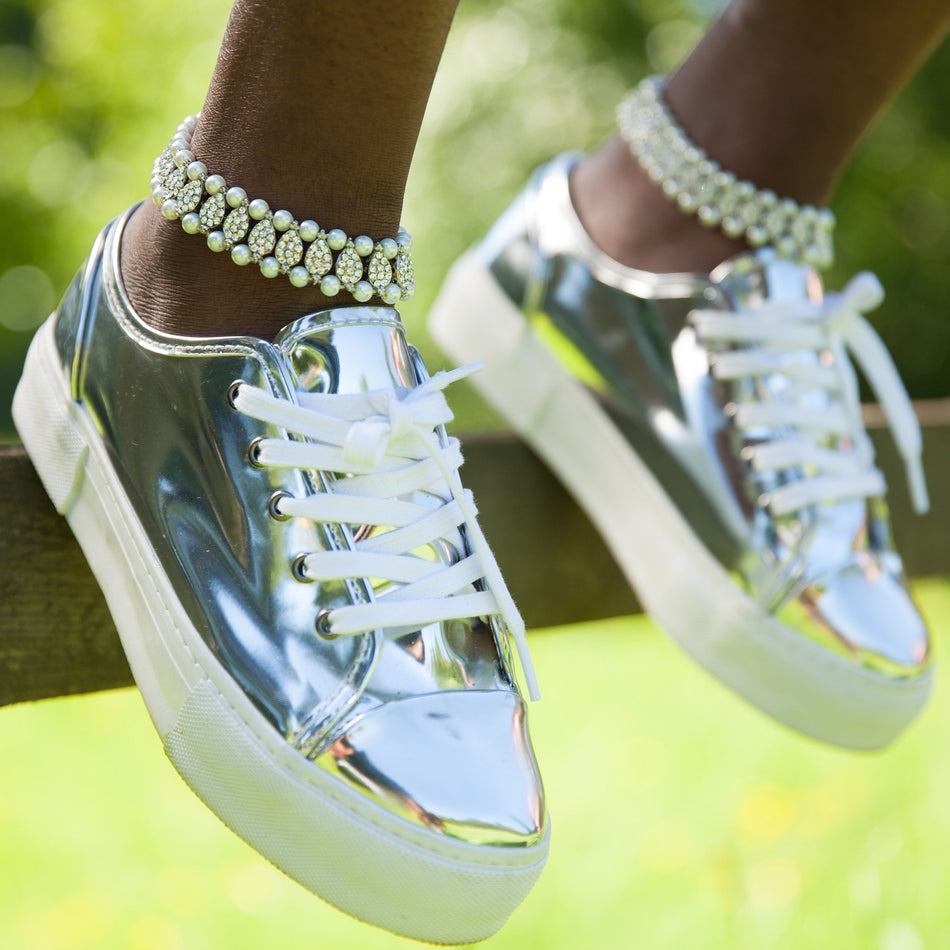 Dua Pearl and Rhinestone Anklet - House of Pascal