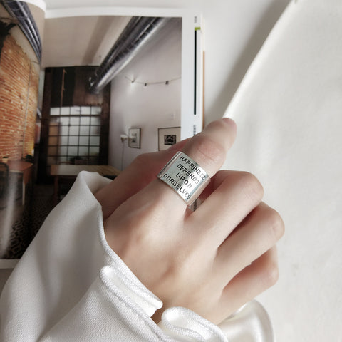 HAPPINESS DEPENDS UPON OURSELVES RING - Sterling Silver - House of Pascal