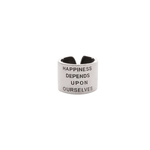 HAPPINESS DEPENDS UPON OURSELVES RING - House of Pascal