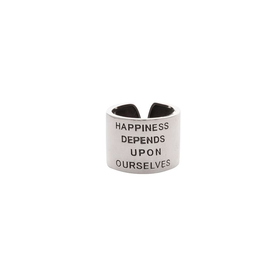 Happiness Depends on Ourselves Sterling Silver Ring - House of Pascal