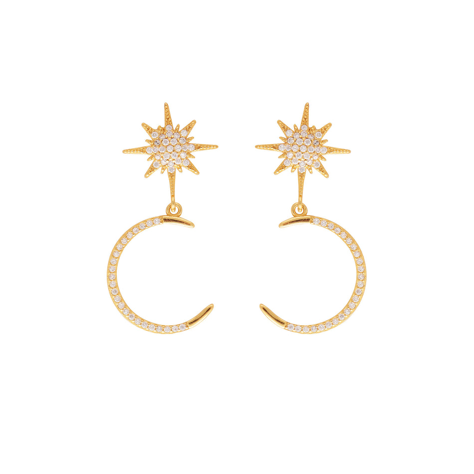 MOON AND THE STARS EARRINGS - Sterling Silver - House of Pascal